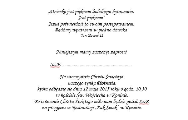 Teksty Do Zaproszeń Na Chrzest święty Studio29 Rękodzieło